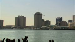 Pan across New Orleans skyline Stock Footage