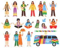 Hippie Decorative Icons Set Stock Illustration
