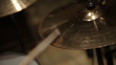 Musician plays the drums and cymbals Stock Footage