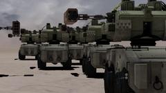 Robot mechs in desert futuristic tanks Stock Footage