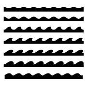 Seamless Wave Pattern Set. Vector Template Stock Illustration