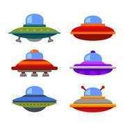 Cartoon Flat Style Ufo Spaceship Icon Set. Vector Piirros