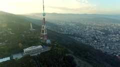 TV tower in Mtatsminda at sunrise, Georgia, topview Stock Footage