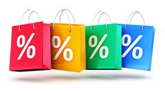 Group of color paper shopping bags with percent symbols Piirros