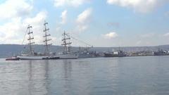 Sailing ships regatta in Varna, Bulgaria Stock Footage