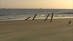 Pier posts after hurricane Stock Footage