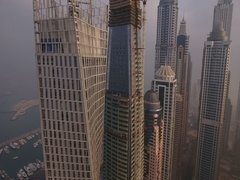 Aerial view of skyscrapers in Dubai Marina, at foggy sunrise. Stock Footage