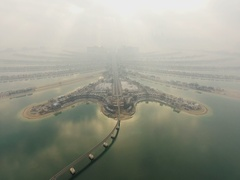 Aerial view of Jumeirah Palm Island Development In Dubai. Stock Footage