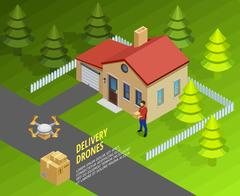 Drones Delivery Isometric Template Stock Illustration