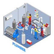 3d Plumber People Composition Stock Illustration