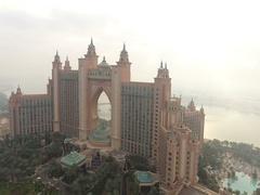 Aerial view of Atlantis on Palm Jumeirah. Stock Footage