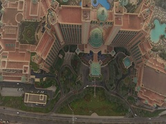 Aerial view of Atlantis on Palm Jumeirah. Stock Footage