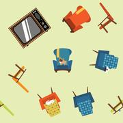 Pattern seamless element of furniture, equipment and pets. Stock Illustration