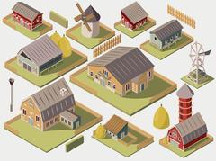 Farms Isometric Set Piirros