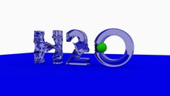 H2O word animation with waves generated with a green ball. Stock Footage