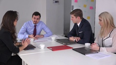 Rough angry young businessman scolding team business employees in the meeting 4K Stock Footage