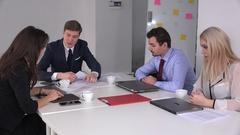 Difficult chief scolding business men women team weak sales teamwork low profit Stock Footage