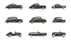 Retro Car Black Icons Collection Stock Illustration