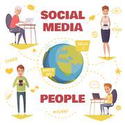 People In Social Media Design Concept Stock Illustration