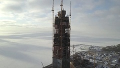 Aerial vertical pano: Construction of a largest in Europe high-altitude building Stock Footage
