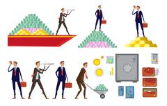 Financial Wealth Icon Set Stock Illustration