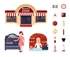 Beauty Store Icon Set Stock Illustration
