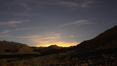 Time lapse of moon shadows moving across the desert landscape Stock Footage