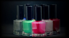 Colorful Nail Polish Bottles Stock Footage