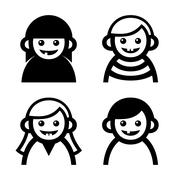 Baby and Children Faces Icons Set. Vector Stock Illustration