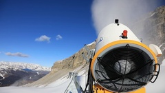 Snow cannon against the blue sky Stock Footage