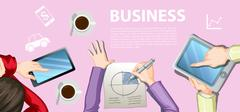 Infographic with business people working Stock Illustration