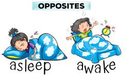 Opposite words for asleep and awake Stock Illustration