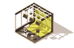 Vector isometric low poly television studio Stock Illustration