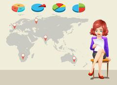 Infographic design with worldmap and businesswoman Stock Illustration