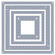Square frame with greek ornament, meander style pattern Piirros