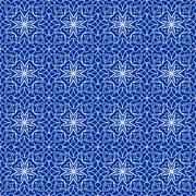 High contrasting seamless background tile with filigree white ornament on blue Stock Illustration