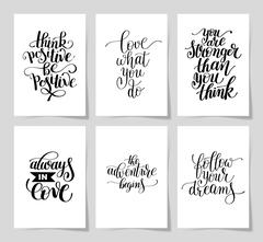 Set of 6 hand written lettering positive inspirational quote Stock Illustration