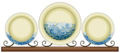 Antique ceramic plates with painted waves Stock Illustration