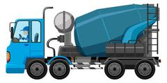 Blue cement truck with driver Piirros