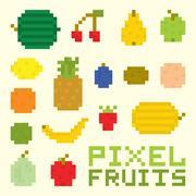 Pixel art fruits isolated vector set Stock Illustration