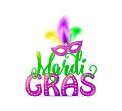 Vector illustration of Mardi Gras text sign with venetian masquerade mask Stock Illustration