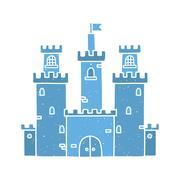 Cartoon castle isolated vector blue Stock Illustration