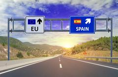 Two options EU and Spain on road signs on highway Stock Photos