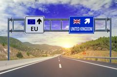 Two options EU and United Kingdom on road signs on highway Stock Photos