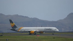Boeing B 757 Twin Engine Jet Airliner of Condor Taxiing at Madeira Airport 4K Stock Footage