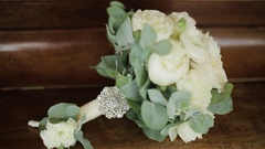 Beautiful bridal bouquet on the table Stock Footage