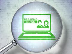 News concept: Breaking News On Laptop with optical glass on digital background Stock Illustration