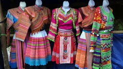 Hmong national dresses, northern Vietnam Stock Footage