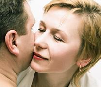 Man and woman. Love. Portrait of a loving heterosexual couple close-up Stock Photos