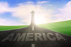 America word on road with arrow upward Stock Illustration